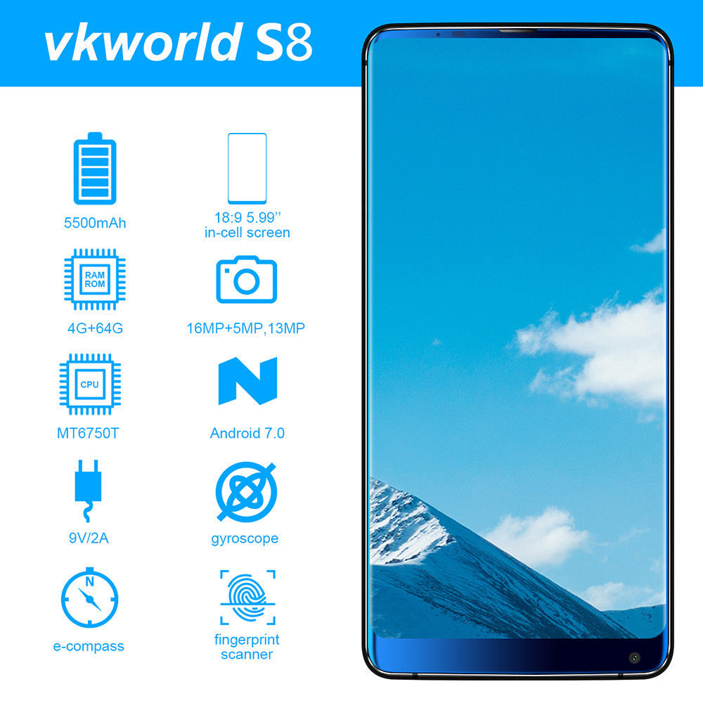 Vkworld S8 5.99 inches 18: 9 Full Screen 4G-LTE Fingerprint Smartphone 4+64GB